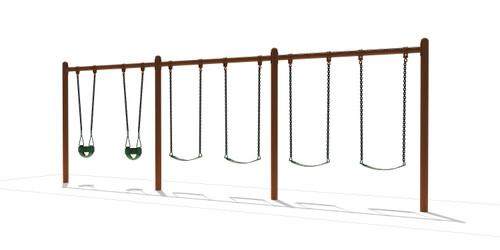 """5"""" Single Post Swing Frame 8ft- 3 Bay"""