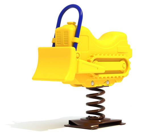 Freestanding commercial playground equipment.  Bulldozer spring rider, yellow color option