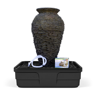 Medium Stacked Slate Urn Landscape Fountain Kit - Lifetime ...
