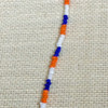 Blue, white and orange seed bead bracelet