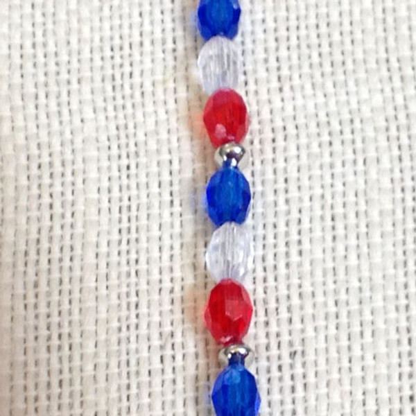 6mm Faceted Patriotic Bracelet
