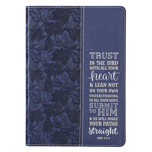 Trust in the Lord Navy Faux Leather Classic Journal - Proverbs 3:5-5