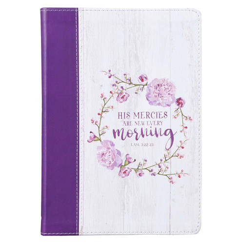 His Mercies Are New Slimline Faux Leather Journal with Purple Spine - Lamentations 3:22-23