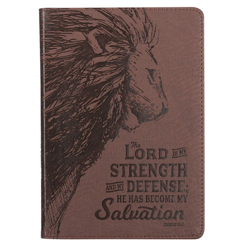 My Strength & My Defense Brown Faux Leather Classic Journal - Exodus 15:2