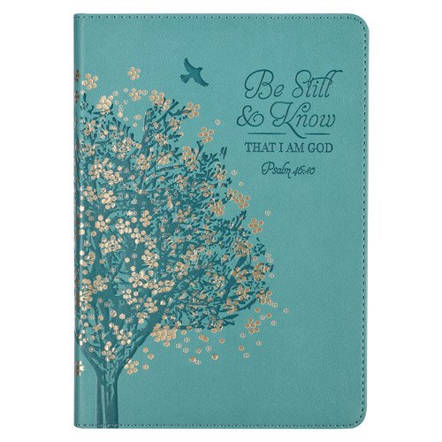 Be Still & Know Teal Faux Leather Classic Journal - Psalm 46:10