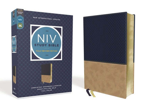 NIV Study Bible, Fully Revised Edition, Leathersoft, Navy and Tan, Comfort Print