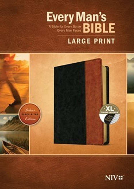 NIV Every Man's Bible, Large Print, Leatherlike, Black and Tan, Indexed