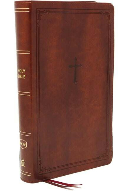 NKJV, End-Of -Verse Reference Bible, Personal Size, Large Print, Leathersoft, Brown, Red Letter, Comfort Print
