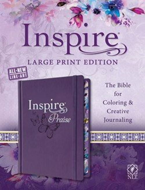 NLT Inspire PRAISE Bible Large Print - The Bible For Coloring And Creative Journaling - Purple