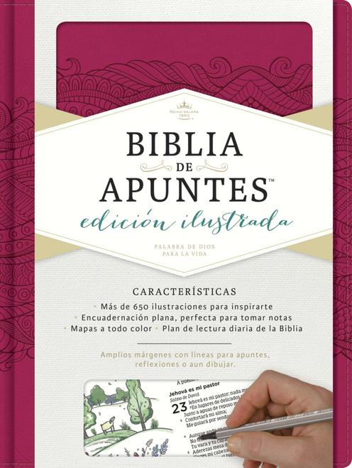 RVR 1960 Biblia De Apuntes, Edición Ilustrada, Símil Piel Rosado