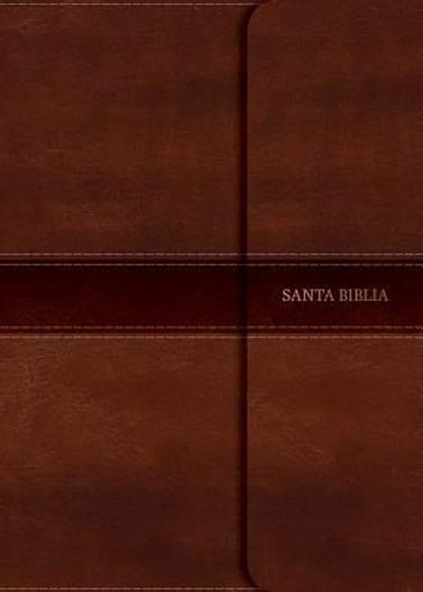 RVR 1960 Biblia Letra Grande Tamaño Manual marrón, símil piel con índice y solapa con imán