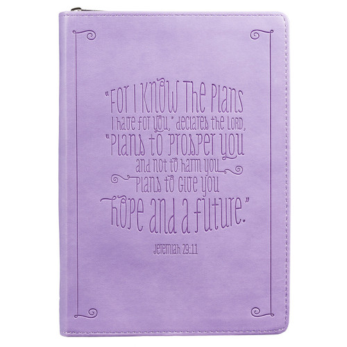 I Know the Plans Zippered Classic LuxLeather Journal in Lilac - Jeremiah 29:11