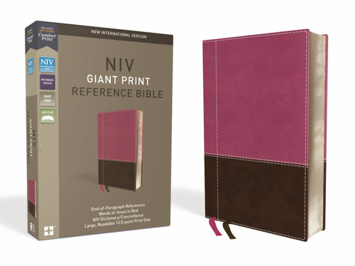 NIV, Reference Bible, Giant Print, Leathersoft, Pink/Brown, Red Letter, Comfort Print