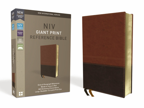 NIV, Reference Bible, Giant Print, Leathersoft, Brown, Red Letter, Comfort Print
