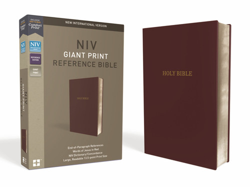 NIV Giant Print Reference Bible, Burgundy Leather-Look, Red Letter, Comfort Print