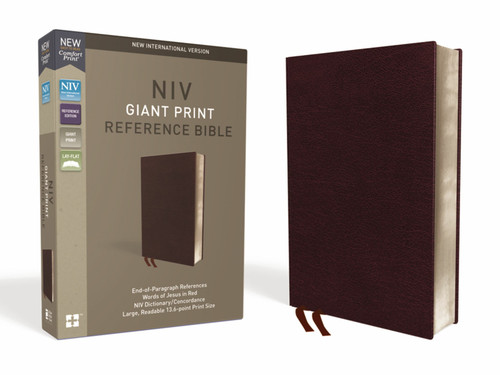 NIV Giant Print Reference Bible, Burgundy Bonded Leather, Red Letter, Comfort Print