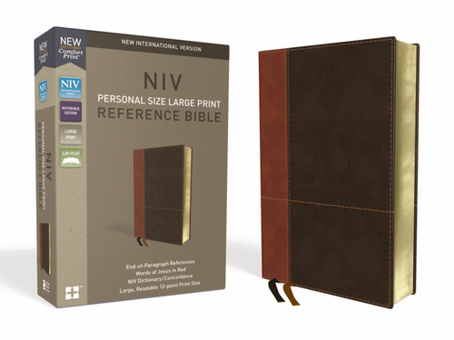 NIV, Personal Size Reference Bible, Large Print, Leathersoft, Tan/Brown, Red Letter, Comfort Print