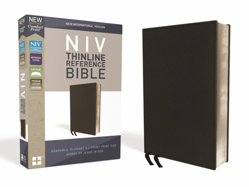 NIV, Thinline Reference Bible, Premium Leather, Calfskin, Black, Red Letter, Comfort Print