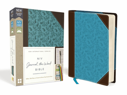 NIV, Journal The Word Bible, Leathersoft, Brown/Blue, Red Letter, Comfort Print
