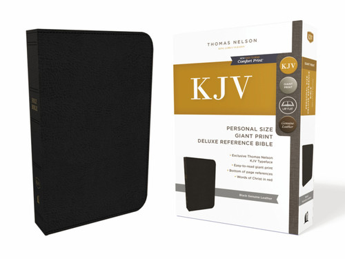 KJV, Deluxe Reference Bible, Personal Size Giant Print, Genuine Leather, Black, Red Letter, Comfort Print