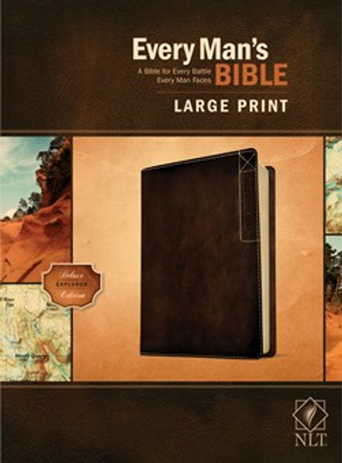 NLT Every Man's Bible, Large Print, Rustic Brown Leather-like