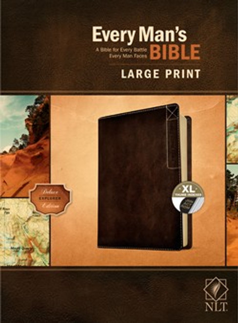 NLT Every Man's Bible, Large Print, Rustic Brown Leather-like Indexed