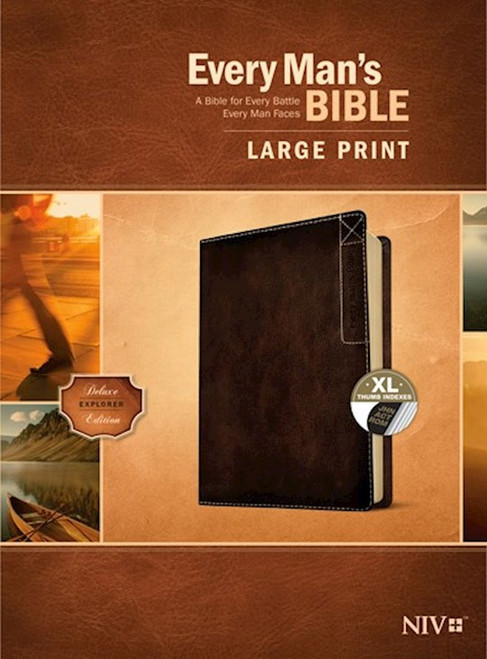 NIV Every Man's Bible, Large Print, Rustic Brown LeatherLike, Thumb Indexed