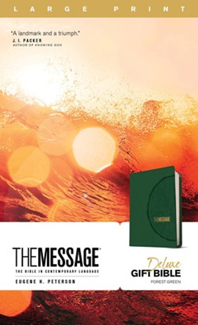 The Message Deluxe Gift Bible, Large Print, Green Leather-Look