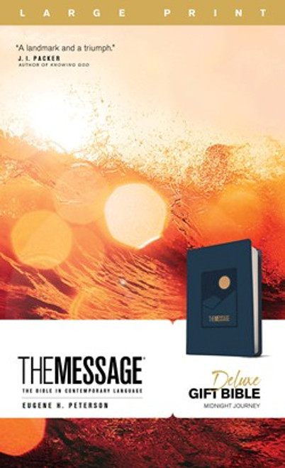 The Message Deluxe Gift Bible, Large Print, Navy Leather-like