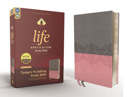 NIV Life Application Study Bible, Third Edition, Soft Leather-Look, Gray/Pink