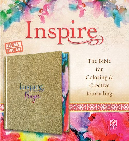 NLT Inspire PRAYER Bible, Metallic Champagne Gold LeatherLike over Hardcover