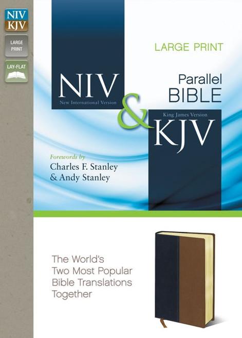 NIV/KJV Parallel Bible, Large Print, Leathersoft, Navy/Tan