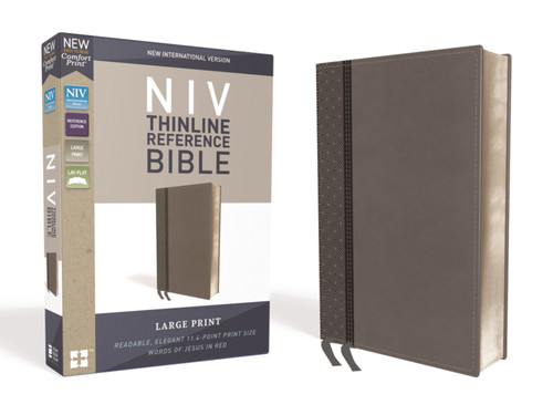 NIV Large Print Thinline Reference Bible, Gray Leathersoft, Red Letter, Comfort Print