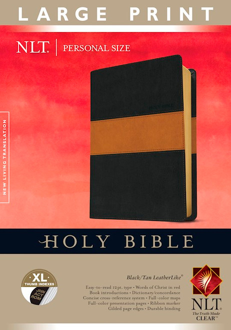 NLT Large Print Personal Size Bible, Black and Tan LeatherLike, Thumb-Indexed
