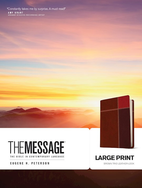 The Message Bible, Large Print, Brown Trio Leather-Look