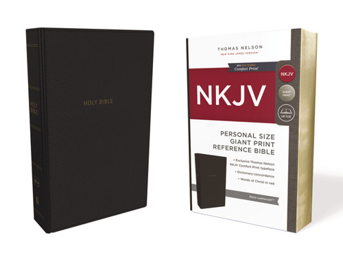 NKJV Personal Size Giant Print Reference Bible, Black Leathersoft