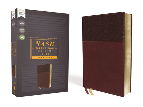 NASB Thinline Bible, Large Print, Burgundy Leathersoft, Red Letter Edition, 2020 Text, Comfort Print