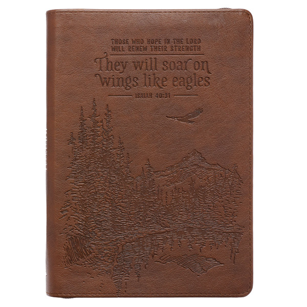 Soar Brown Faux Leather Classic Journal with Zipped Closure - Isaiah 40:31