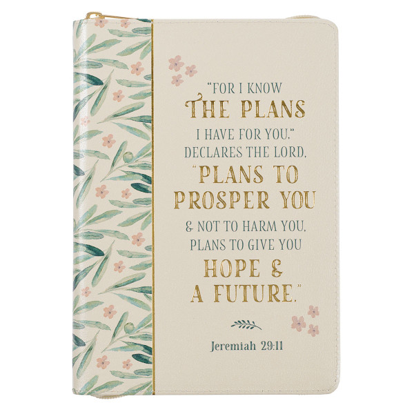 For I Know the Plans Faux Leather Classic Journal with Zipped Closure - Jeremiah 29:11
