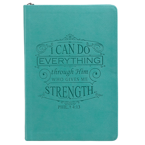 I Can Do Everything Zippered Classic LuxLeather Journal In Turquoise - Philippians 4:13