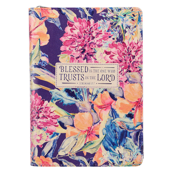 Blessed is the One Floral Faux Leather Classic Journal with Zipped Closure - Jeremiah 17:7