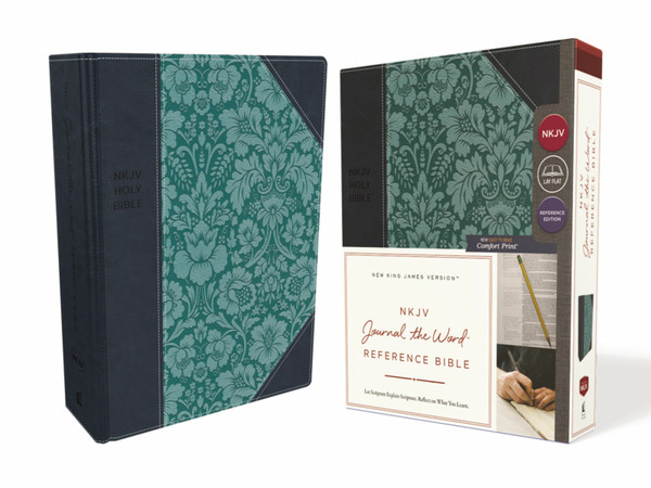 NKJV Journal the Word Reference Bible, Navy/Turquoise Leathersoft