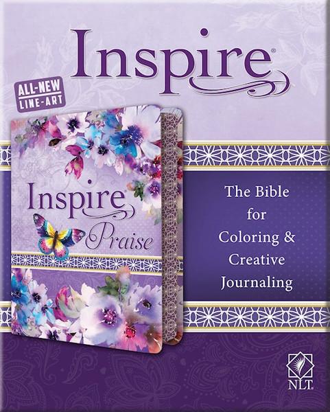 NLT Inspire PRAISE Bible, Purple Garden LeatherLike