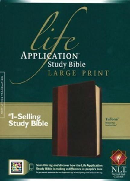 NLT Life Application Study Bible 2nd Edition, Large Print TuTone Leatherlike Brown/Tan Indexed