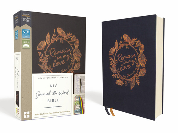 NIV, Journal The Word Bible, Cloth Over Board, Navy, Red Letter, Comfort Print