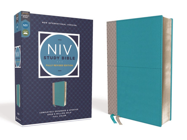 NIV Study Bible, Fully Revised Edition, Soft Leather-Look, Teal/gray Red Letter, Comfort Print