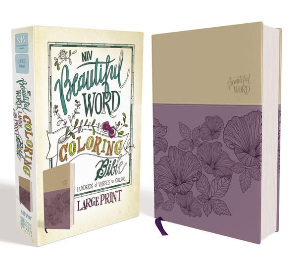 NIV Beautiful Word Coloring Bible, Large Print, Purple/Tan Leathersoft