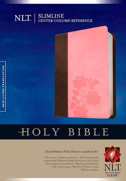 NLT Slimline Center Column Reference Bible, Dark Brown/Pink Flowers LeatherLike, Thumb-indexed
