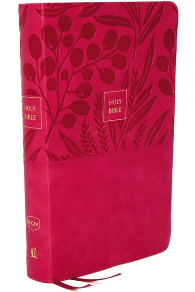 NKJV, Reference Bible, Personal Size Large Print, Leathersoft, Pink, Red Letter Edition, Comfort Print