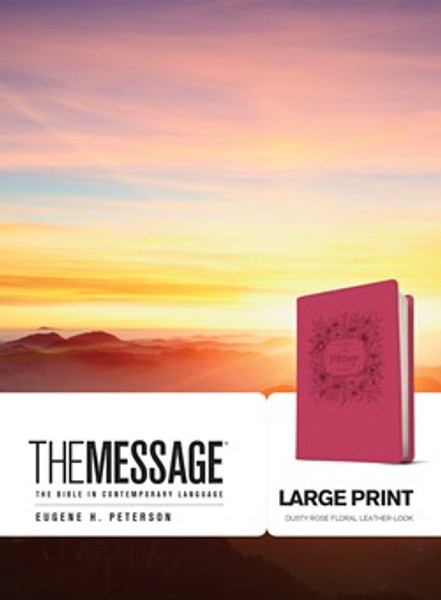 The Message Large Print Bible, Dusty Rose Leather-Look